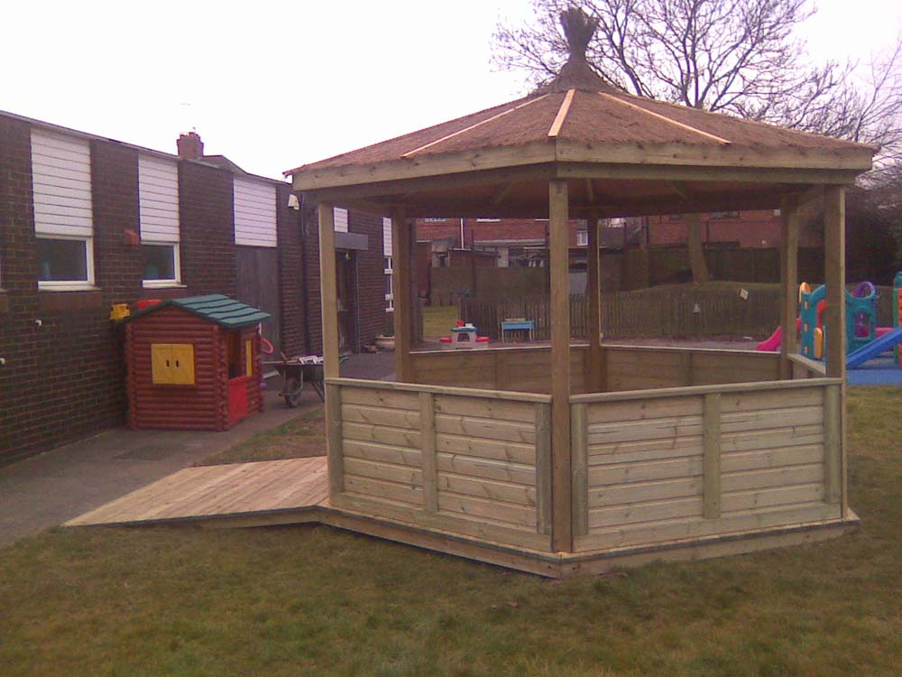 Reed roofed gazebo with access ramp