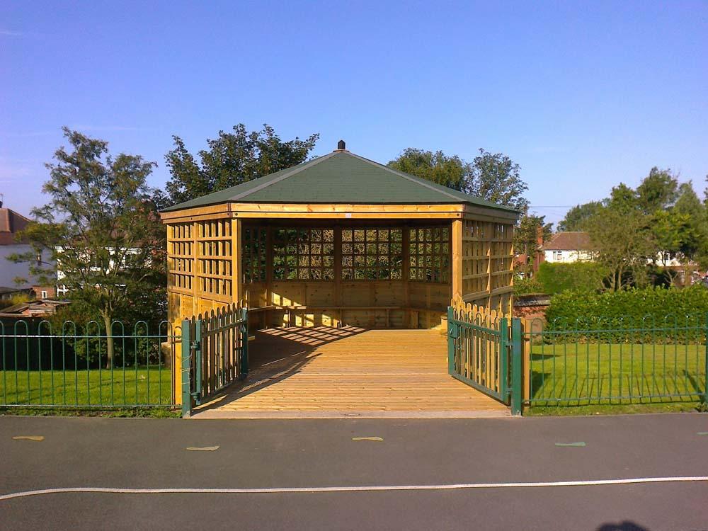 Large 6 metre Gazebo with shingled roof