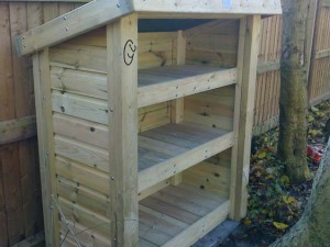 Log store for fire pit